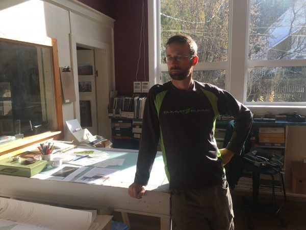 Erik Leslie, Harrop-Procter Community Forest's Forest Manager, at the HPCF office