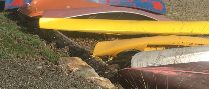 Canoes lie ready