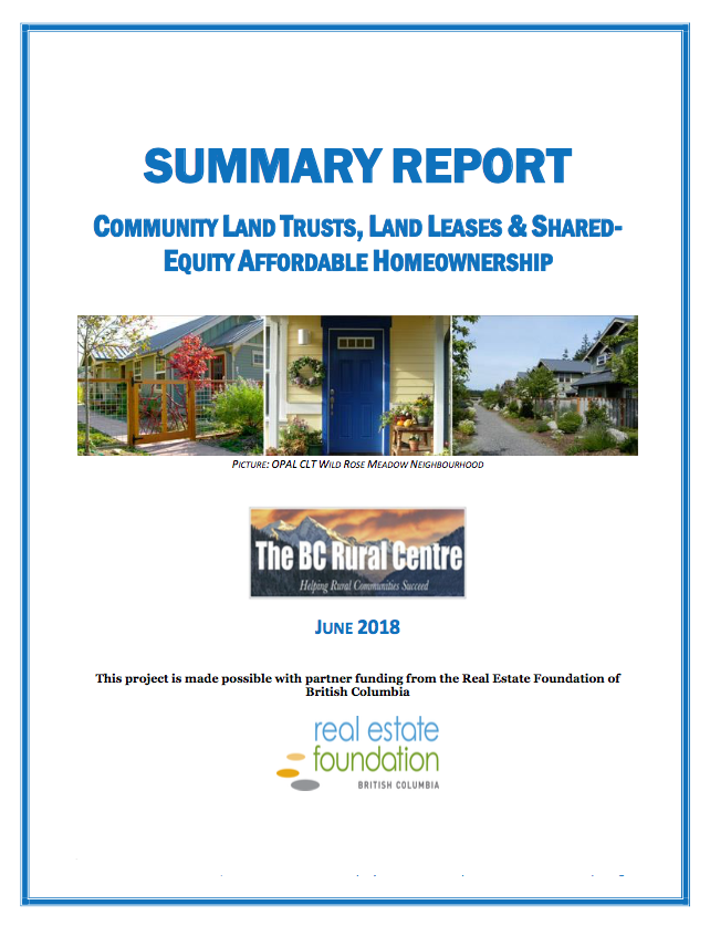 Community Land Trusts, Land Leases & Shared Equity can provide affordable rural housing