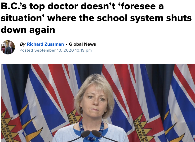 BC's top doctor says school system won't close